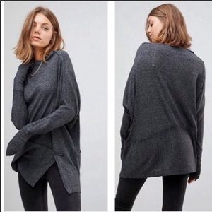 Free people gray ribbed slouchy comfy tunic